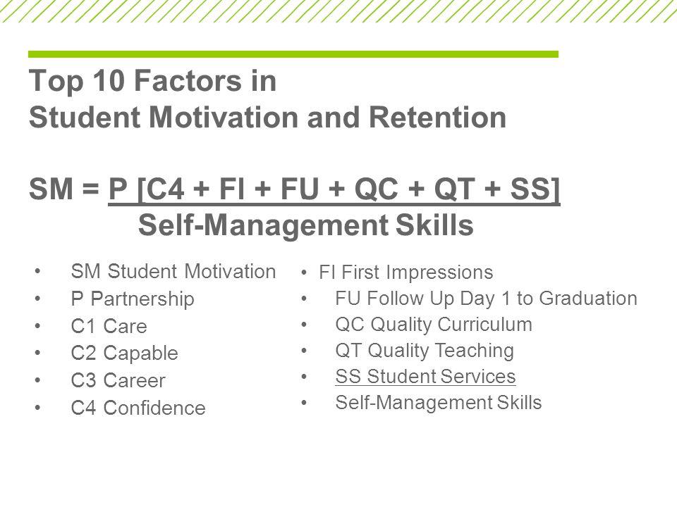 Top 10 Factors in Student Motivation and Retention SM = P [C4 + Fl + FU + QC + QT + SS] Self-Management Skills